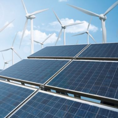 Solar photovoltaic and wind turbines for renewable energy