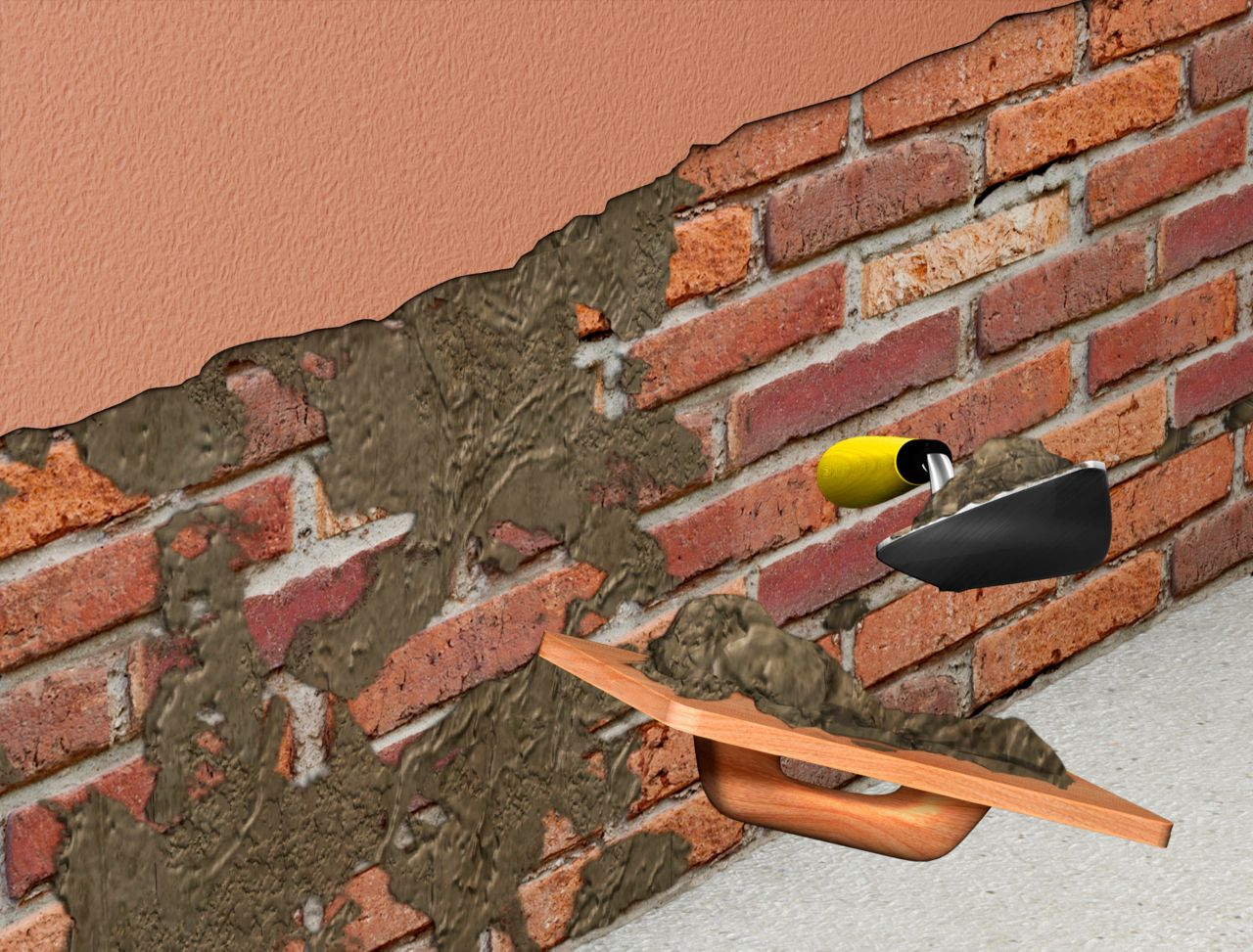 Application of renovation mortar on the wall