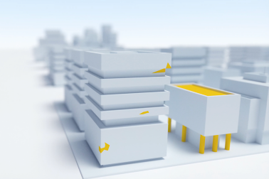Yellow Sika Buildings Illustration