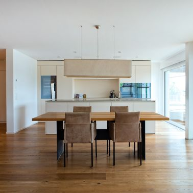 Residential living room interior finishing wood floor bonded with adhesive