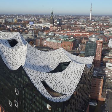 Elbphilharmonie Concert hall roof construction with Sika Sarnafil roof membrane Hamburg Germany skyline