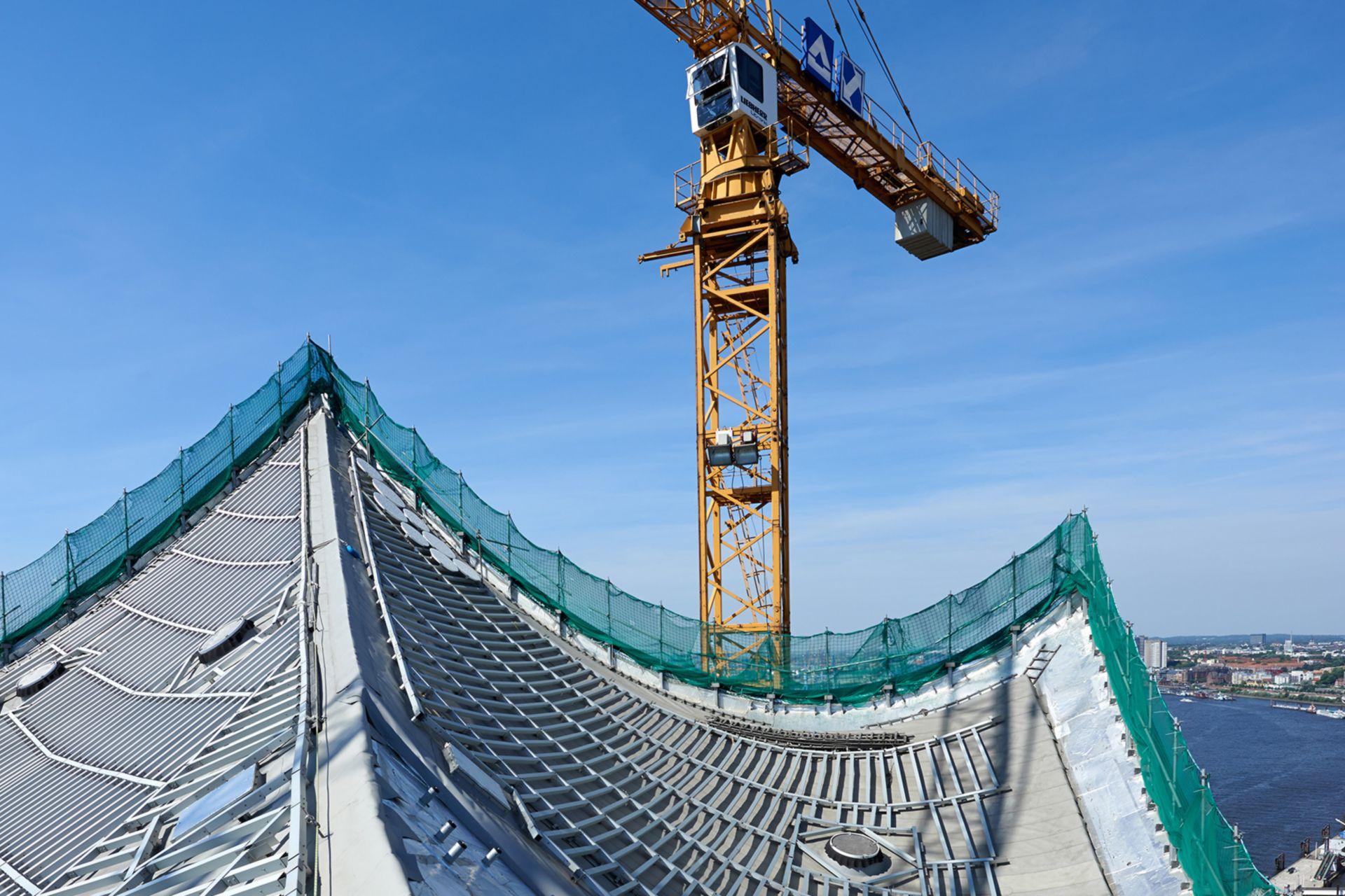 Sarnafil waterproofing membrane on roofing area of Elbphilharmonie in Hamburg