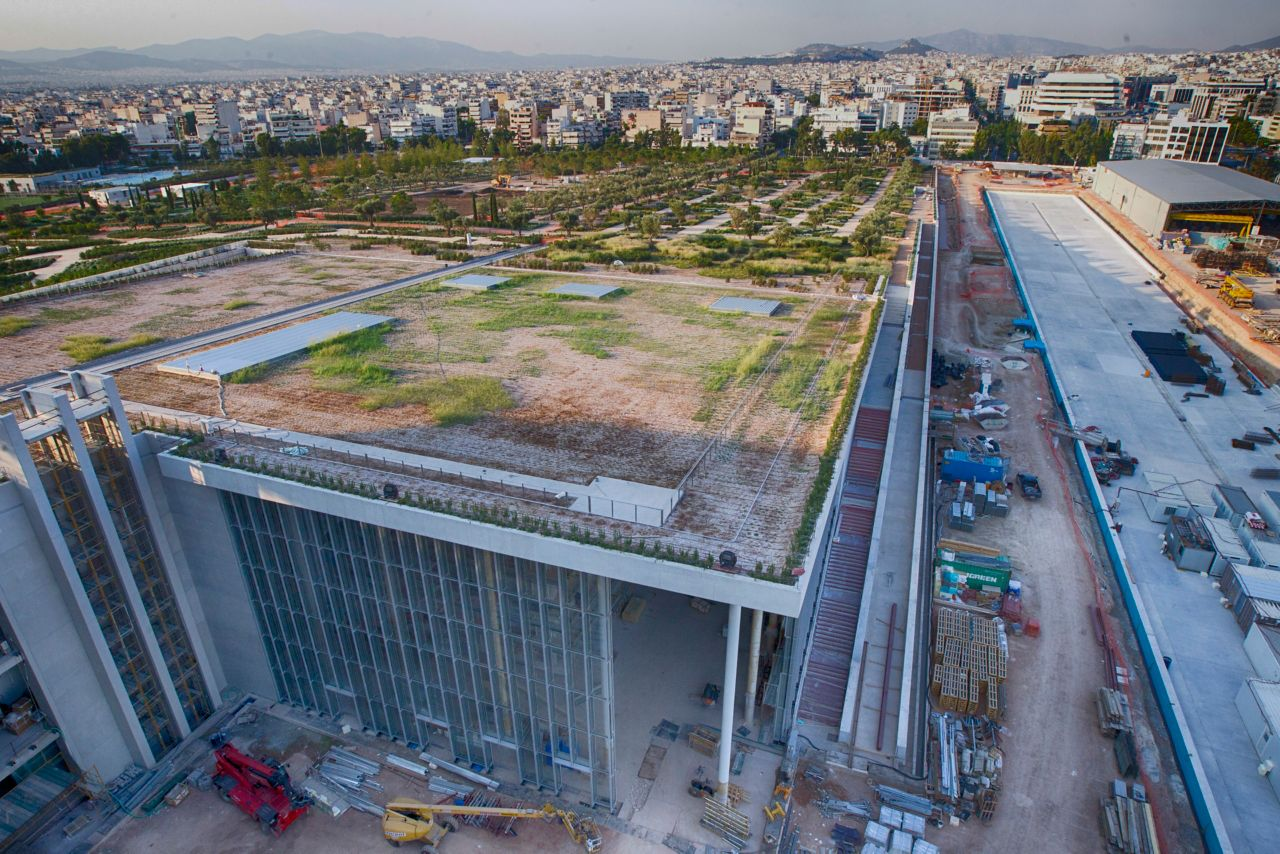 Green roof construction of Stavros Niarchos Cultural Center