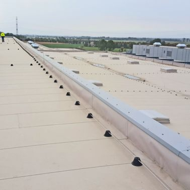 Sarnafil waterproofing membrane on all roofing areas on Volkswagen Plant in Wrzesnia
