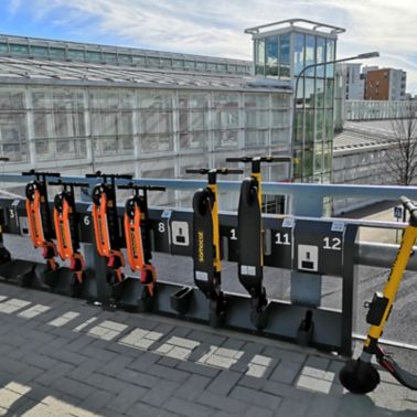 Scooter sharing station of Samocat Motorcycle Rental Service in Vuosaari district of Helsinki