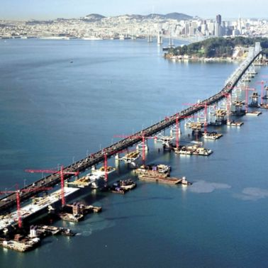 Construction of San Francisco - Oakland Bay Bridge in the U.S.