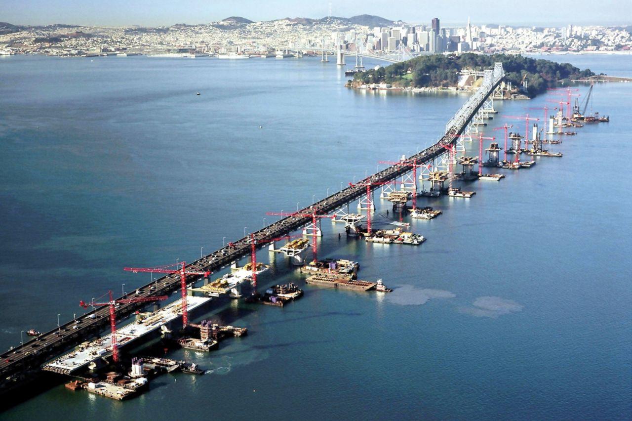 Construction of San Francisco - Oakland Bay Bridge in the U.S.