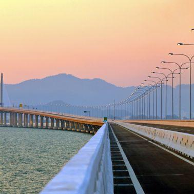 Second Penang Bridge in Malaysia at sunset