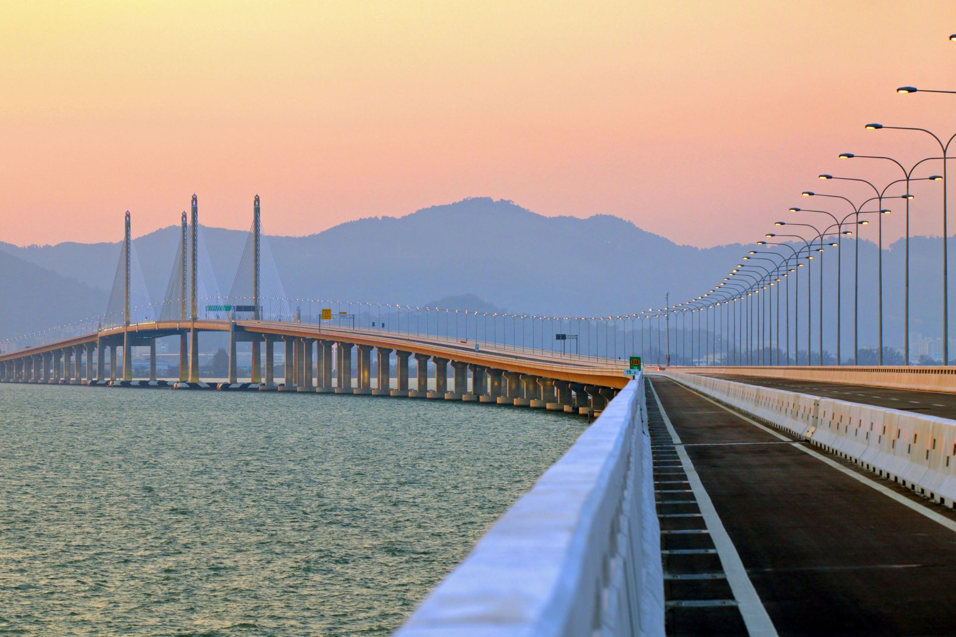 Second Penang Bridge in Malaysia at sunset
