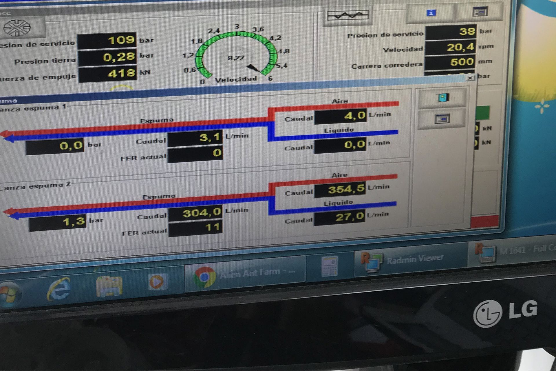 Monitor showing TBM tunneling data