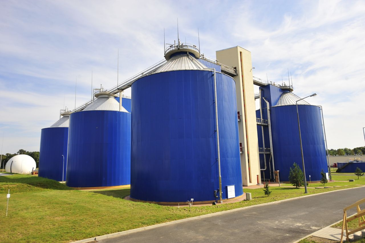 Sedimentation tanks in wastewater treatment plant