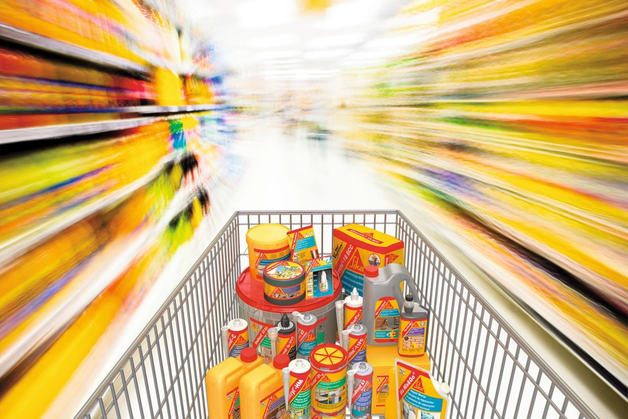 Shopping basket filled with SIka products