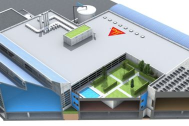 Illustration of Sika factory back of building with green roof and blue floor interior cutaway view