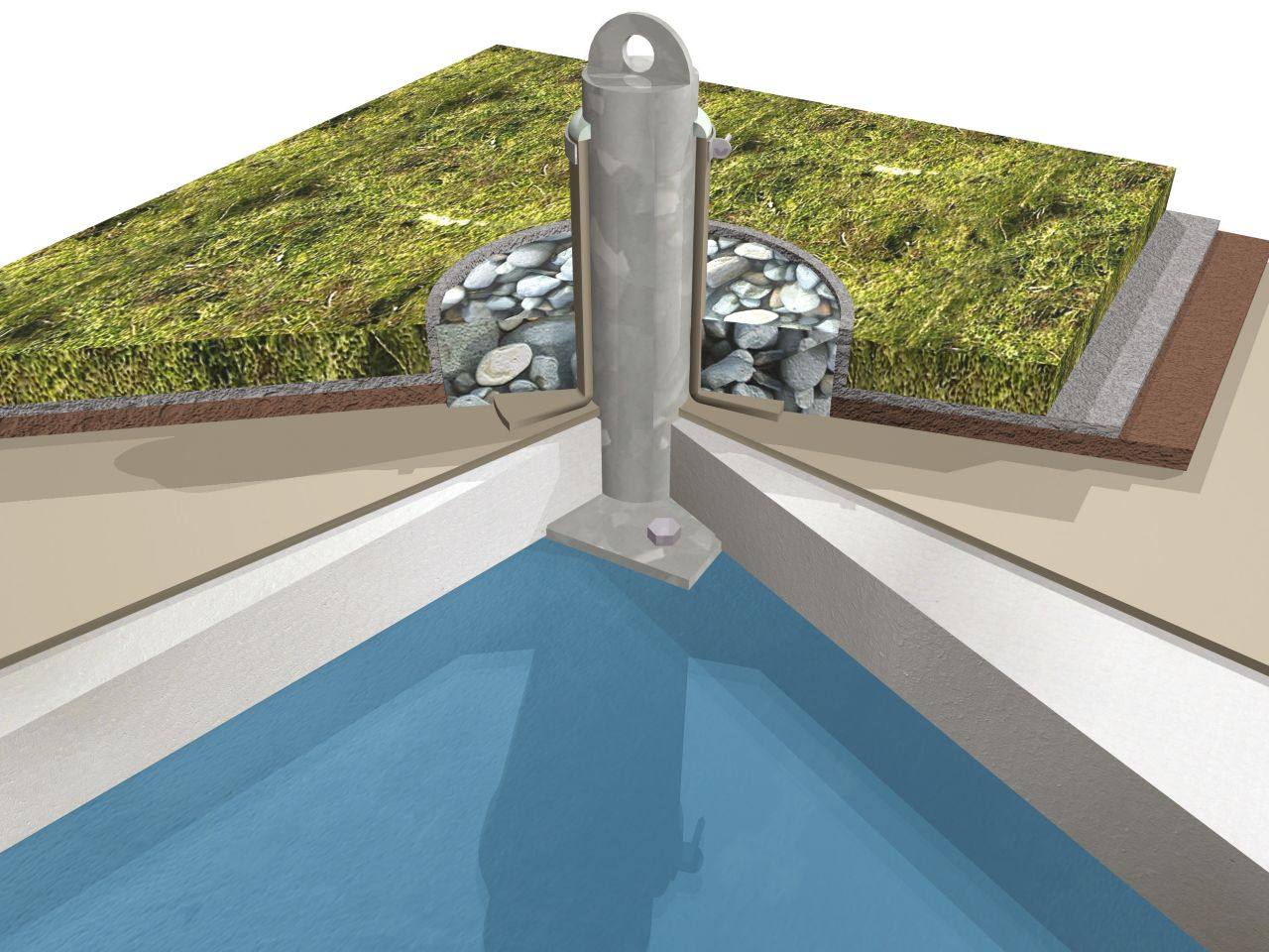 Green roof system buildup 3D rendering at fall arrest penetration