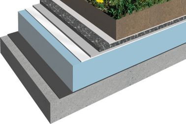 Green roof system buildup 3D rendering with Sika Sarnafil roof membrane