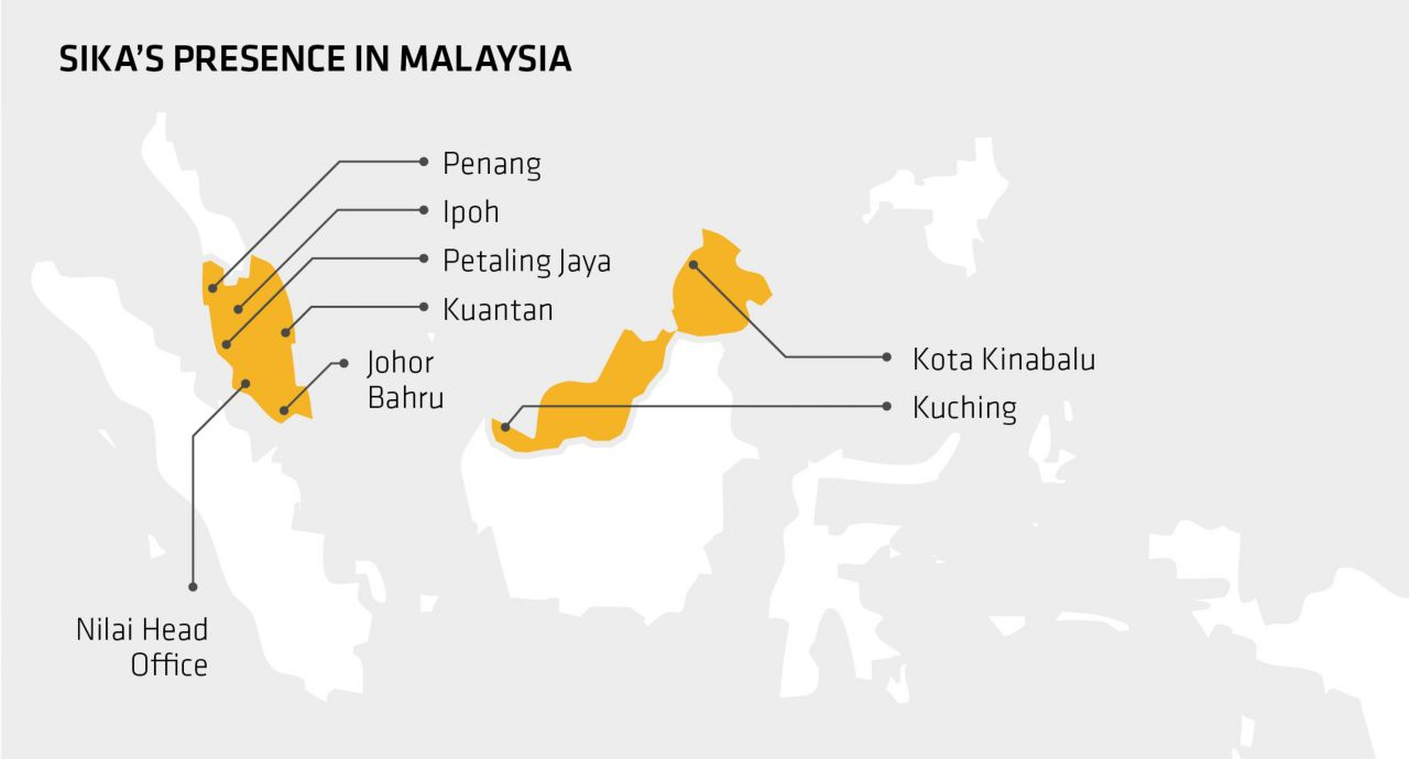 Sika's presence in Malaysia