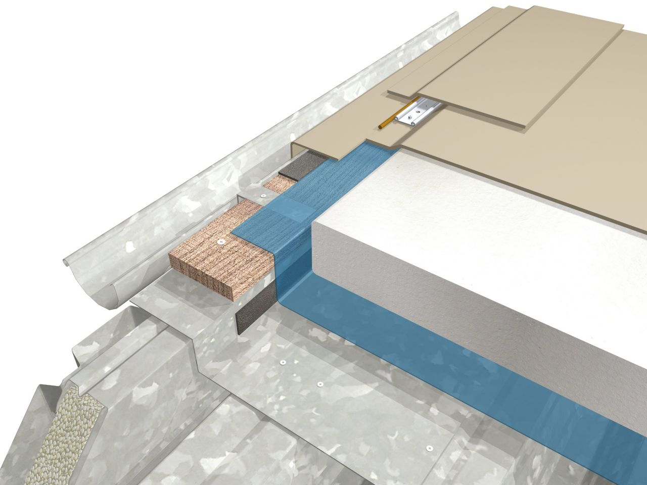 Single-ply membrane buildup 3D rendering at roof edge gutter