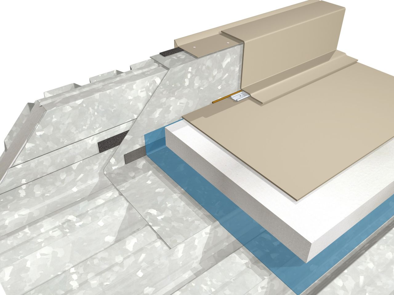 Single-ply membrane buildup 3D rendering at parapet