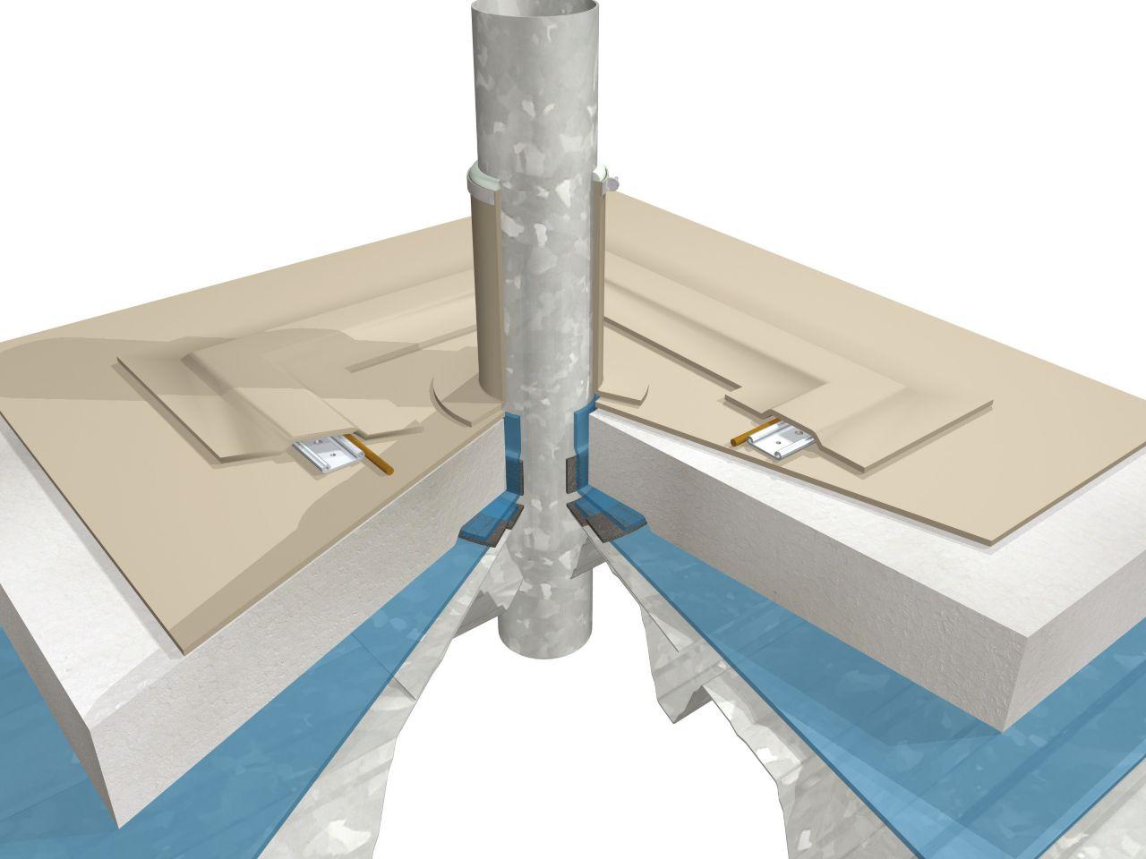 Single-ply membrane buildup 3D rendering at pipe penetration