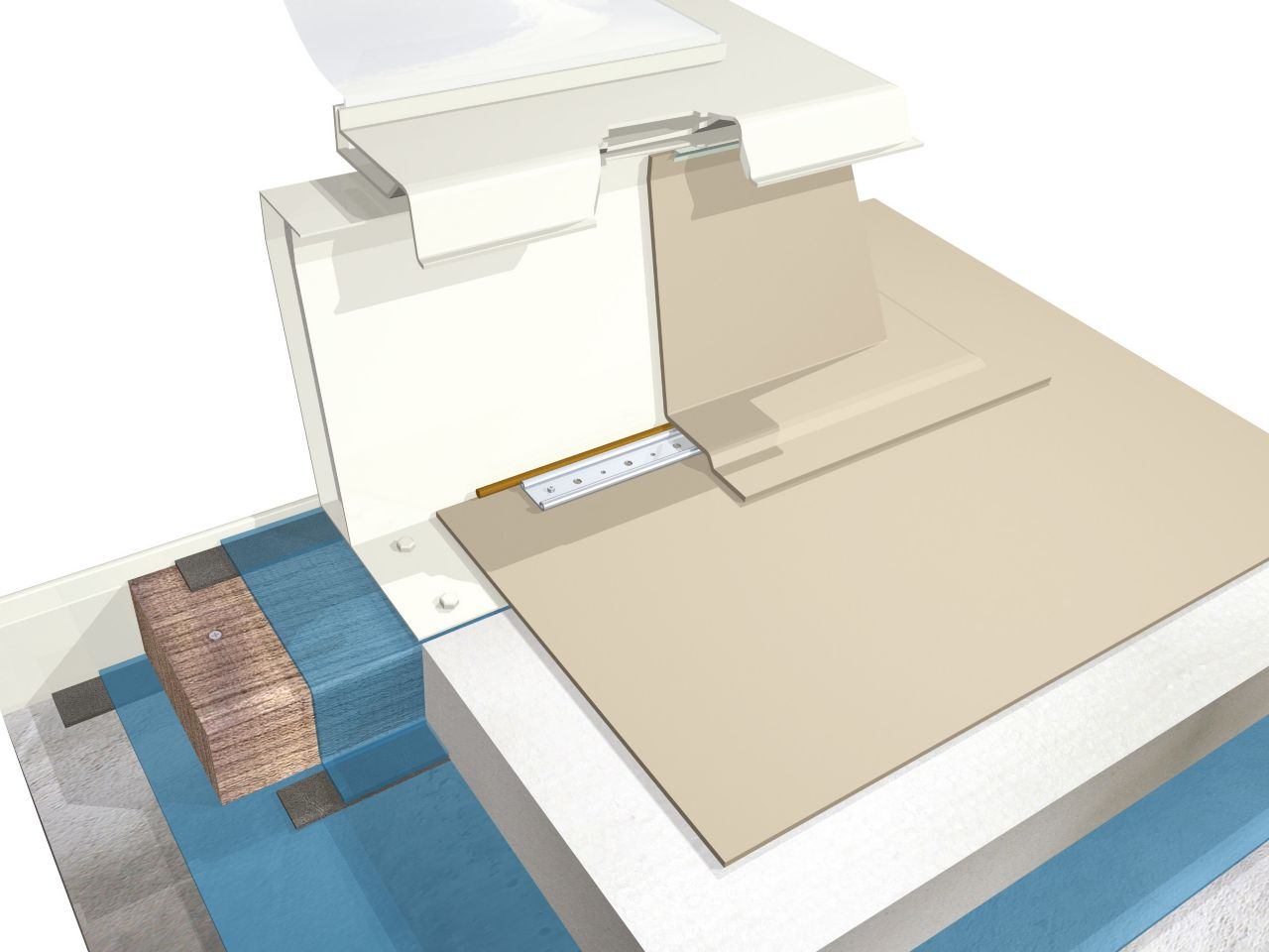 Single-ply membrane buildup 3D rendering at skylight detail