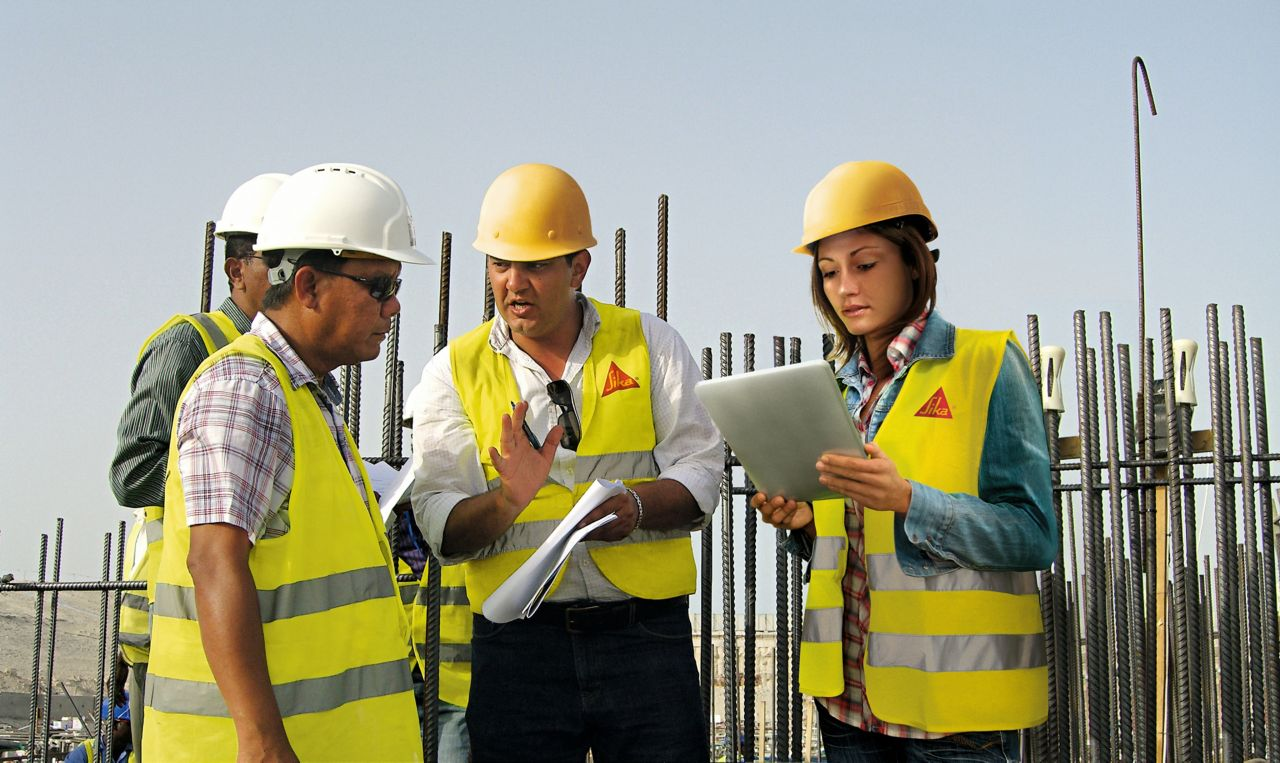 Sika experts on a construction site