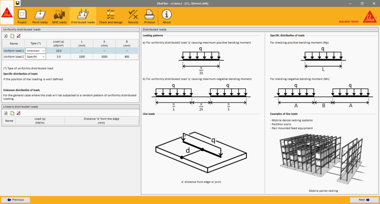 Screen preview of SikaFiber® software uniformly distributed loads calculation