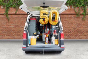 Sikaflex®-11 FC 50 year anniversary balloon in worker van