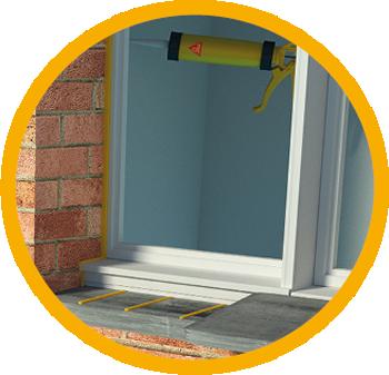Illustration of Sikaflex cartridge at interior window joint sealant