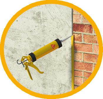 Illustration of Sikaflex cartridge at concrete brick wall joint sealant