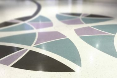 Sikafloor® Terrazzo purple black floor detail close up in lobby entry public building