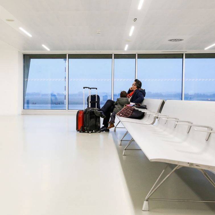 Man waiting at Trieste Airport