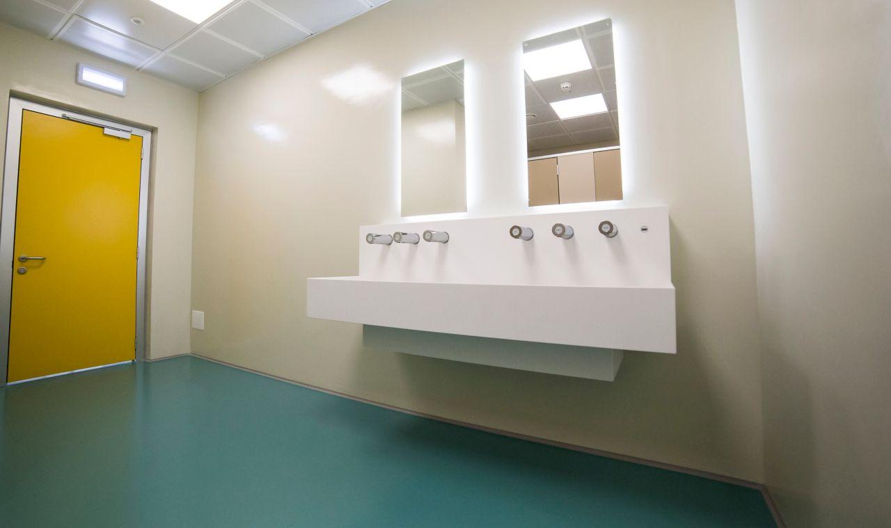 Sikafloor system in bathroom at Trieste Airport Italy