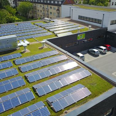 Sika SolarMount-1 on solar and green roof installed in Dortmund, Germany