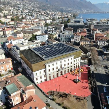 Sika SolarMount-1 on solar roof installed in east-west configuration in Locarno, Switzerland