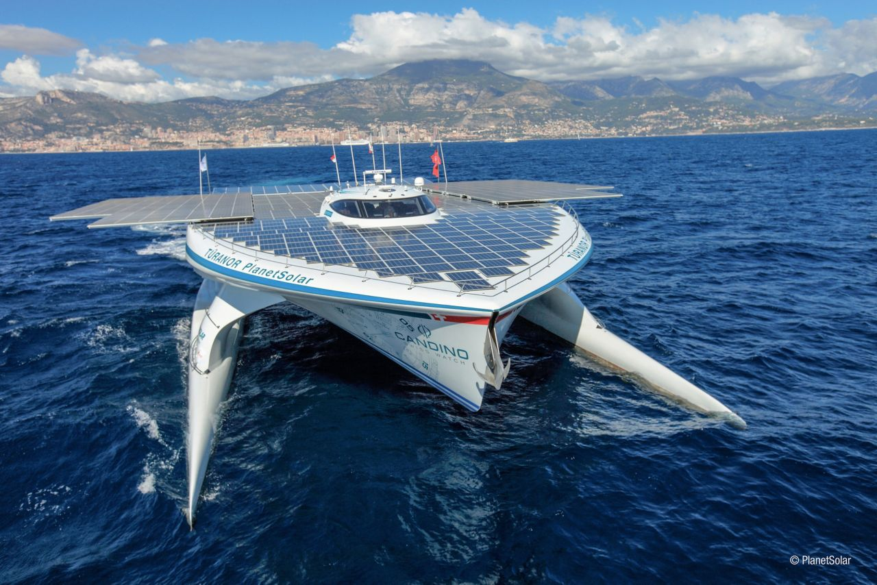 Planetsolar is a solar powered catamaran on the sea