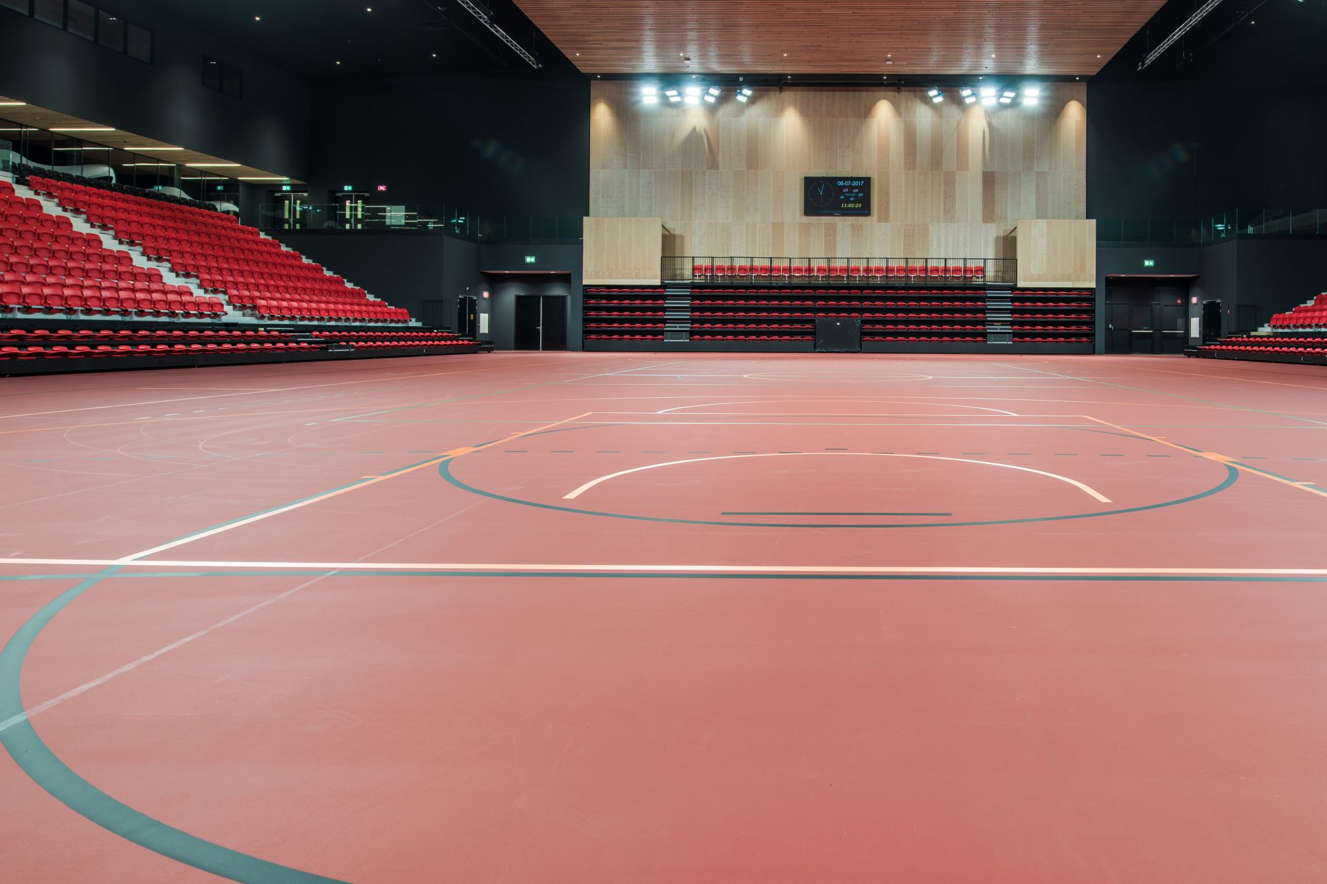 Basketball court red floor with Sika Pulastic flooring at Zuiderpark Sport Center in the Netherlands