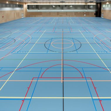 Basketball court gym blue floor with Sika Pulastic flooring at Zuiderpark Sport Center in the Netherlands