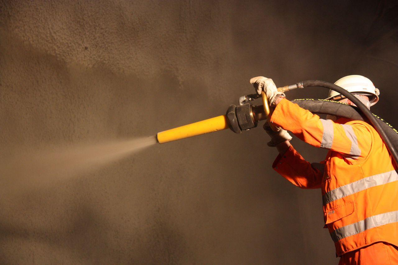 Man using Sika Aliva Converto machine for sprayed concrete