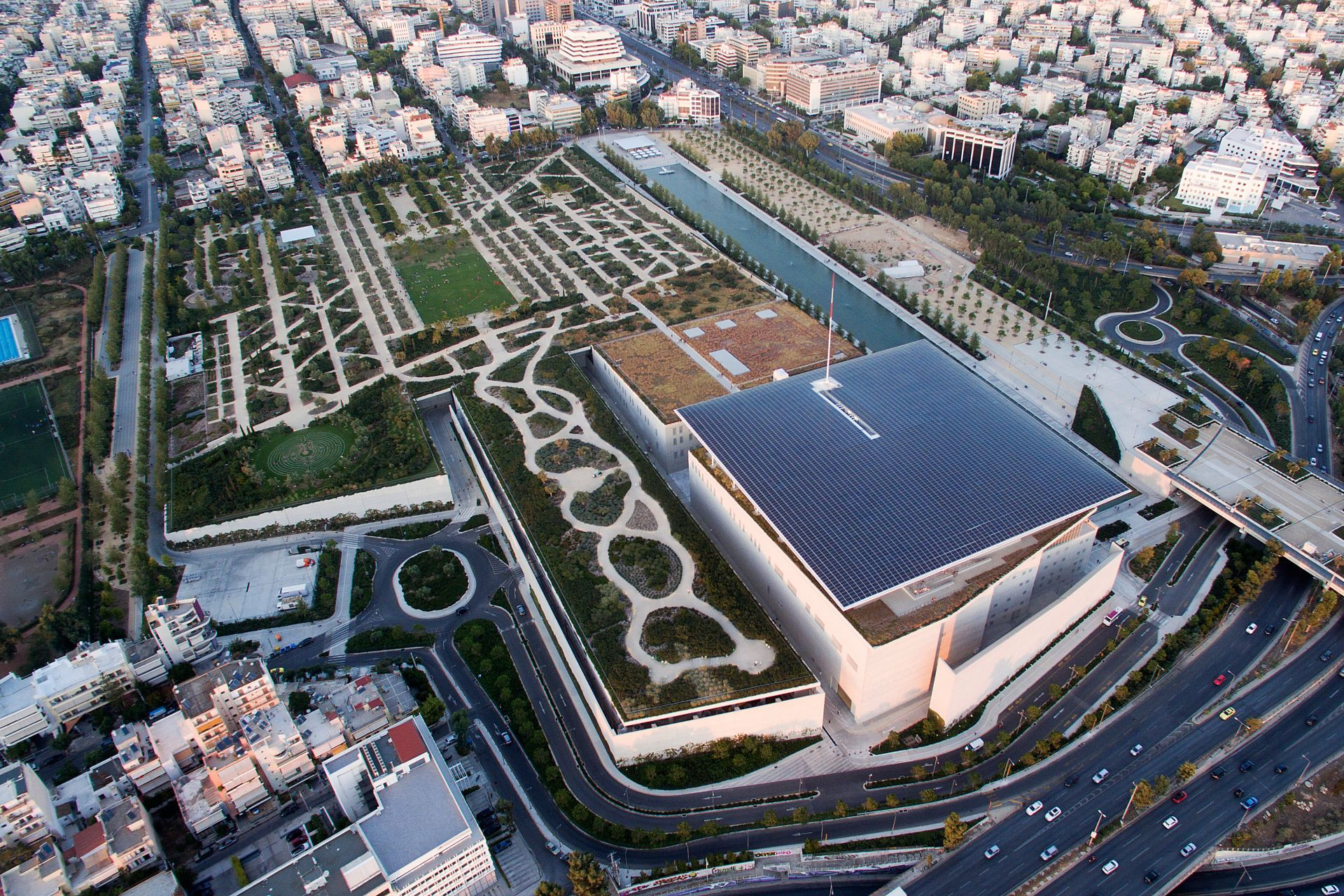 The Stavros Niarchos Foundation Cultural Center from above