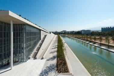Water reservoir next to Stavros Niarchos center in Athens Greece