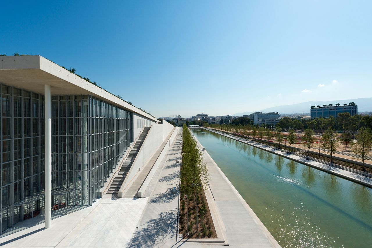 Water reservoir canal next to Stavros Niarchos Cultural Center