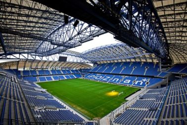 Steel structure with corrosion protection coating at stadium in Poznan, Poland