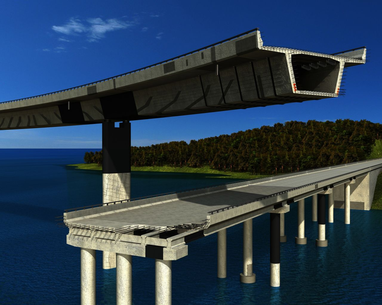 Illustration of concrete bridge with structural strengthening carbon fiber plates and FRP fabric