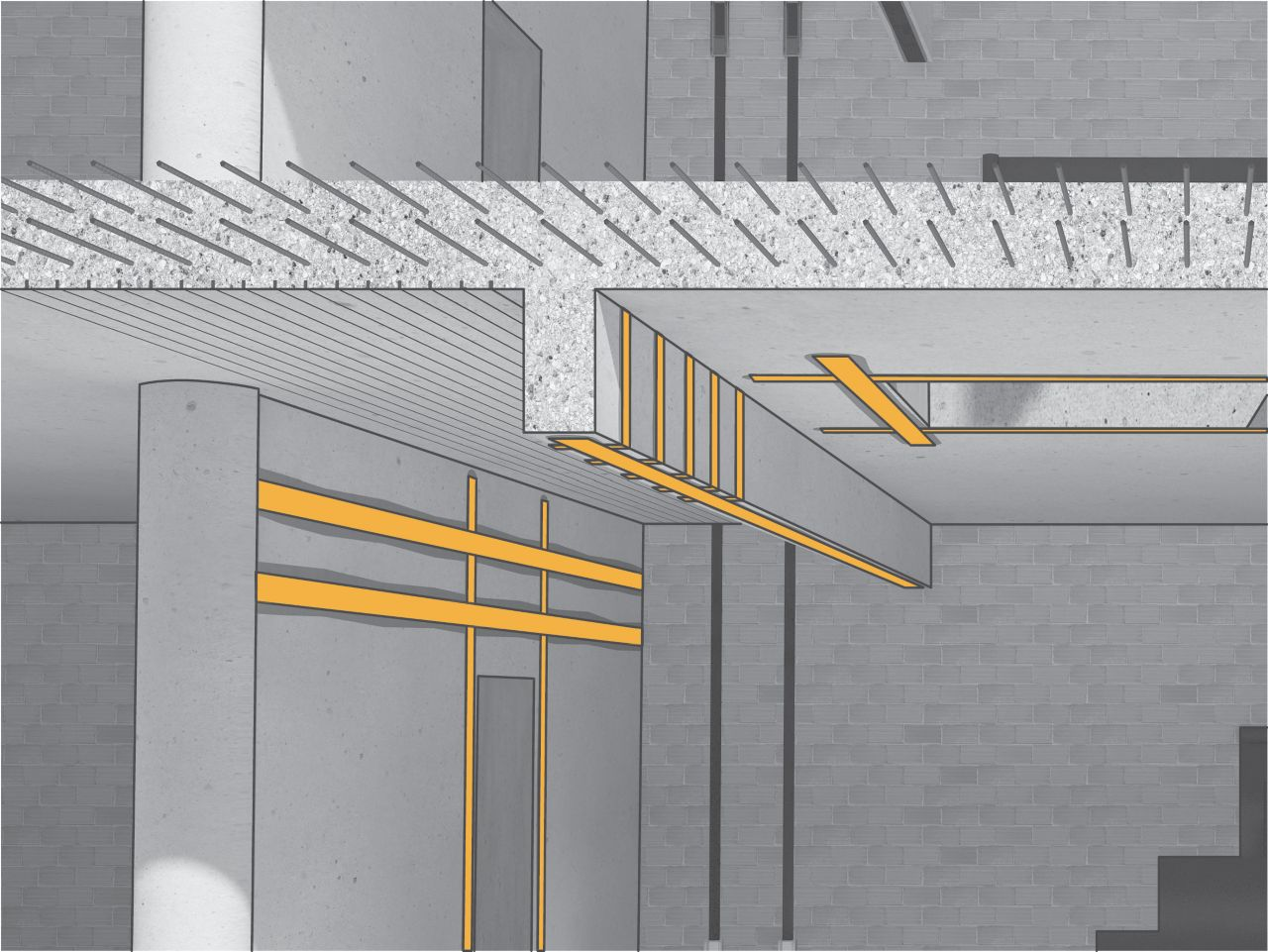 Illustration of concrete and brick building interior wall and beams reinforced with structural strengthening carbon fiber plates