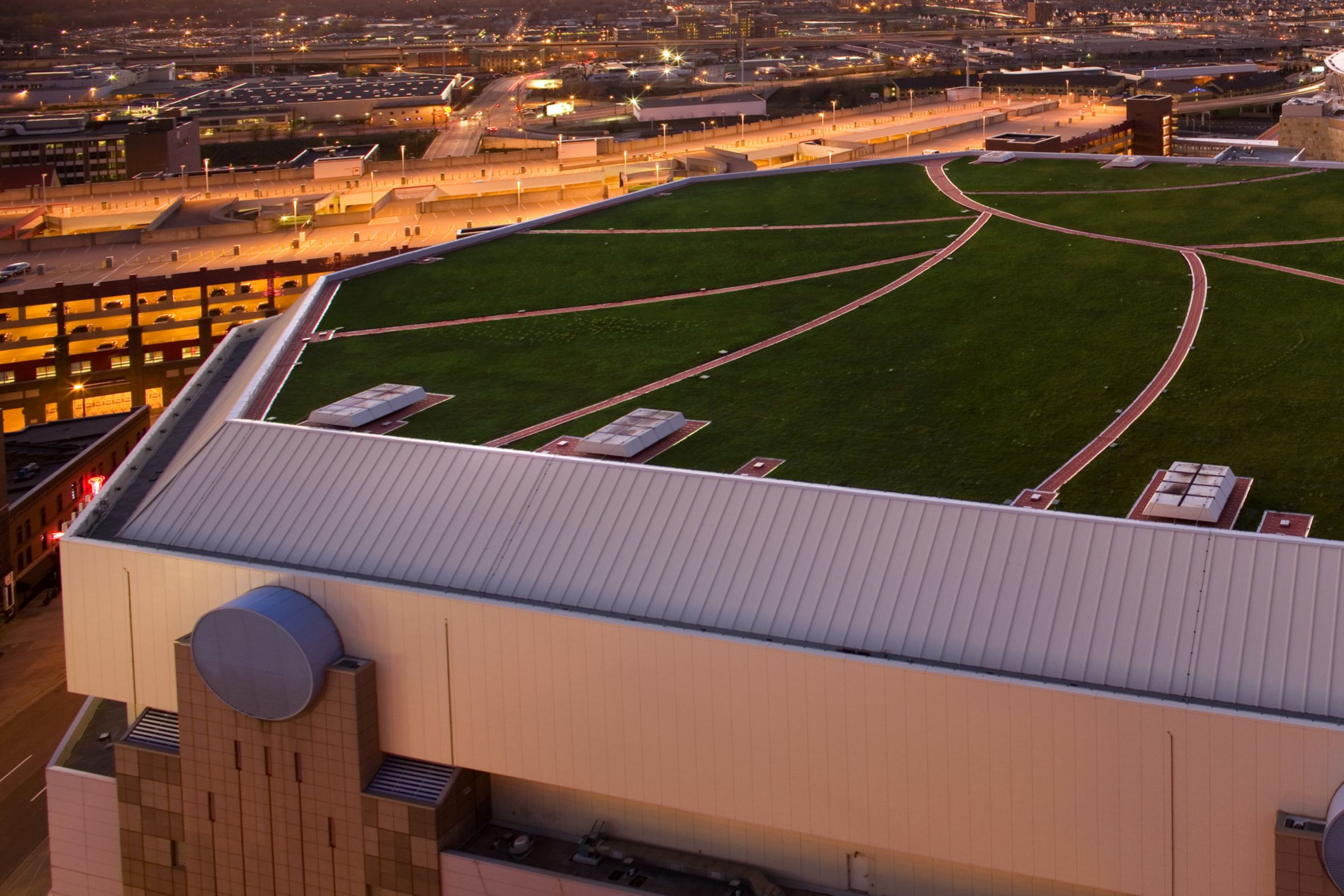 Green roof with single-ply membrane installed on Target Center Arena in Minneapolis in USA