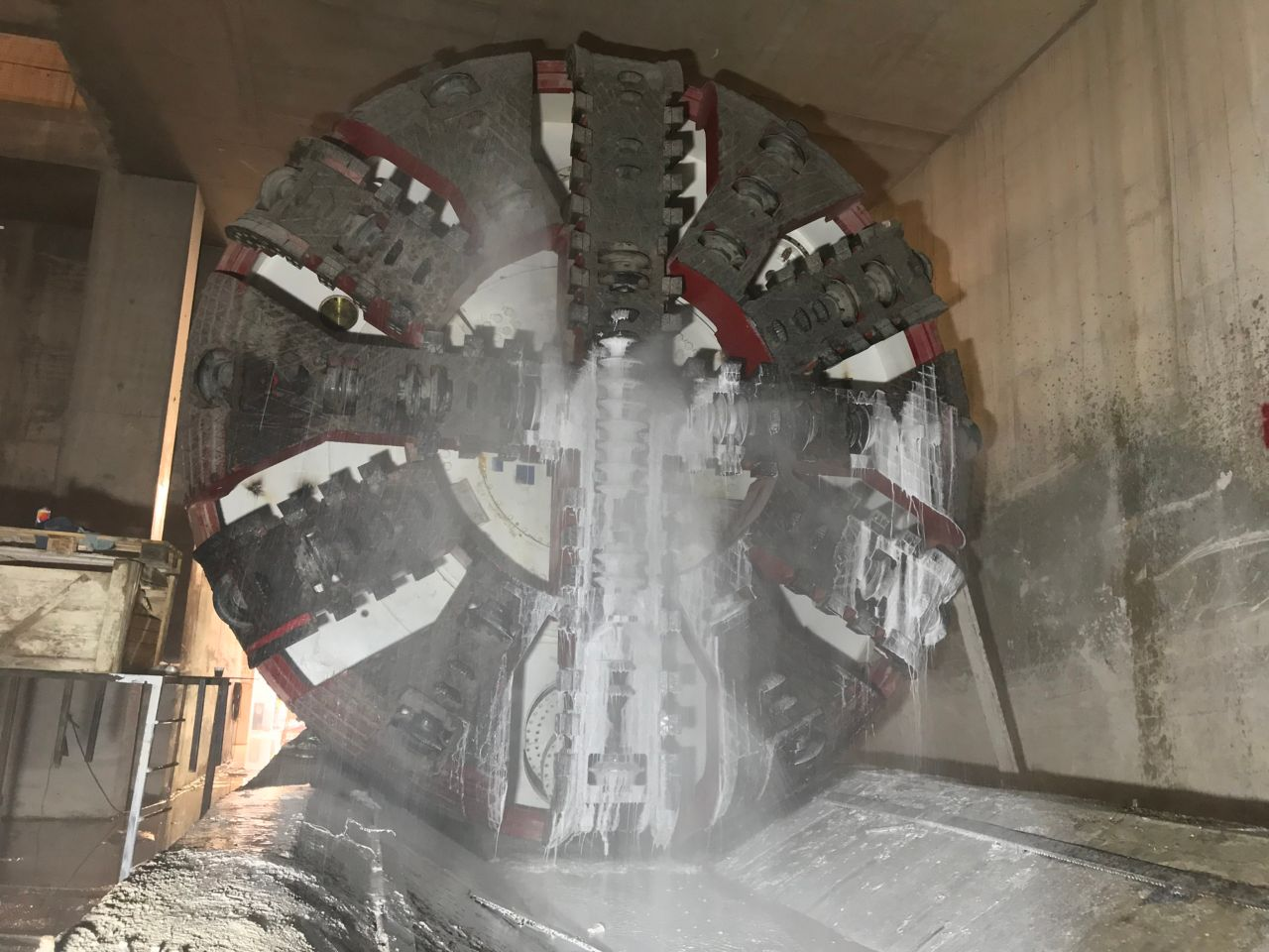 Tunnel boring machine in tunnel construction