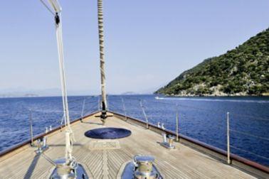 Horizon seen from a ship deck with teak deck