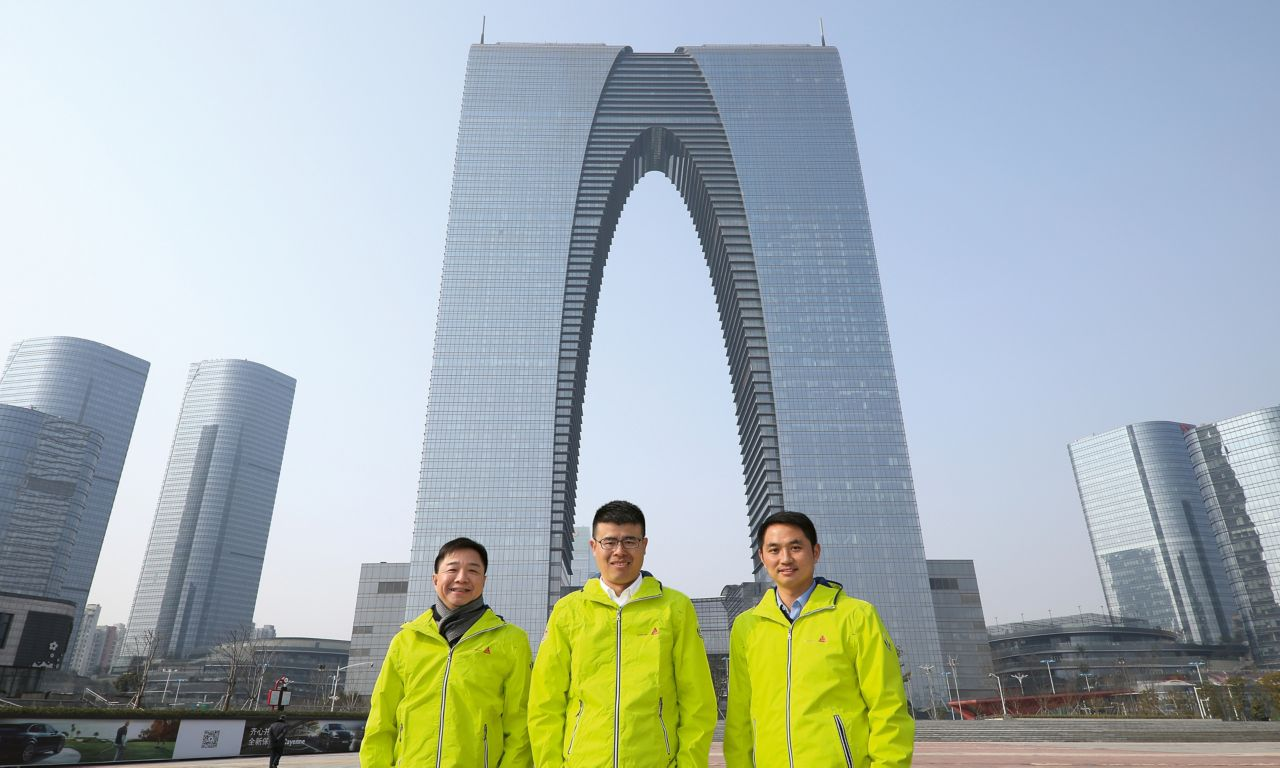 Sika China – Project Team in front of Suzhou Center