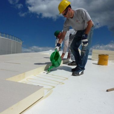 Sika thermal insulation boards installation on Sika roof