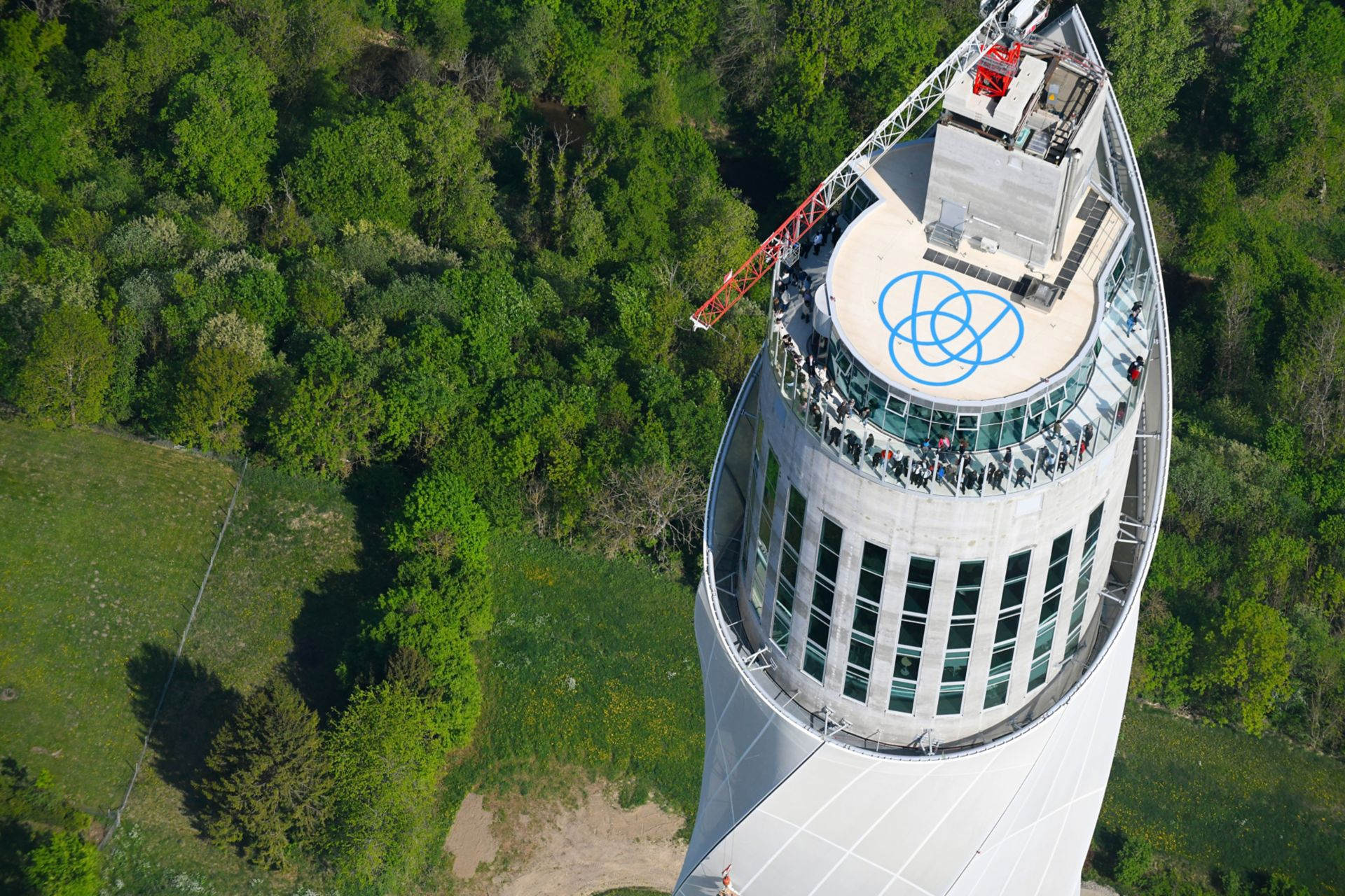 Sika roof graphics applied on Thyssenkrupp elevator test tower in Rottweil, Germany